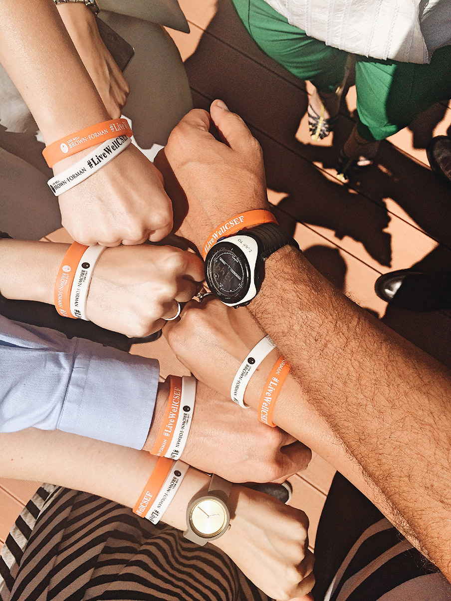 Brown-Forman Employees wearing LiveWellCNSE bracelets